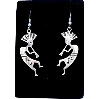 Handcrafted Native American Sterling Silver Overlay Kokopelli Dangle Earrings