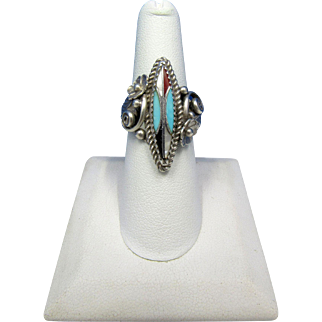 Vintage Signed Native American Ornate Sterling Silver and Multi-Stone Inlay Ring – Size 7