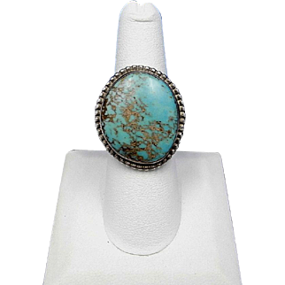 Vintage Handmade Navajo MARTHA SMILEY Kingman Turquoise Sterling Silver Ring – Size 7.5