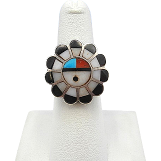 Vintage Signed Zuni Multi-Stone Channel Inlay TEWA SUNFACE Sterling Silver Ring – Size 6