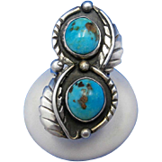 Vintage Signed Navajo Double Kingman Turquoise Stone Shadowbox Sterling Silver Ring – Size 6