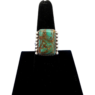Vintage Navajo ARNOLD MALONEY Turquoise Sterling Silver Ring – Size 8.25