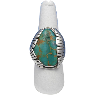 Vintage Navajo STEVE YELLOWHORSE Pilot Mountain Turquoise Sterling Silver Ring – Size  9