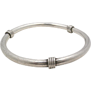 Vintage Taxco Mexico TD-75 Handcrafted Sterling Silver Wire Wrapped Bangle Bracelet