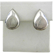 Vintage MARIE ELLYSE Taxco Mexico Sterling Silver Modernist Beveled Teardrop Button Earrings