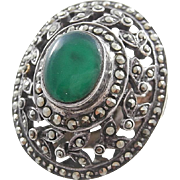 Large Vintage Estate Signed Sterling Silver, Chrysoprase and Marcasite Cocktail Ring - Size 7