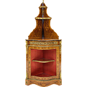A French Style Gilt Metal Mounted Marquetry En Corniere Corner Cabinet