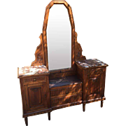 French Country Vanity Dress with Mirror and Marble Tops