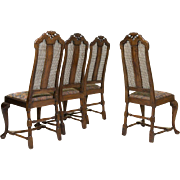 Set of Four Queen Anne Walnut Cane Back Chairs Early 18th century