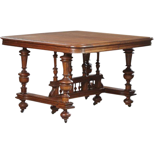 Henri II Style Carved Oak Dining Table Square Top 19th  : 10341L from www.rubylane.com size 591 x 591 png 185kB