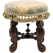 Continental, 18th century. William & Mary stained walnut and upholstered stool