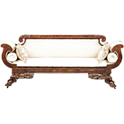 Gorgeous American Classical Period Carved Mahogany and Upholstered Settee