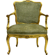 (2) Italian Louis XV Style Carved & Gilded Chairs, 19th Century ( 1800s )