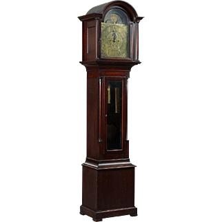 19th Century English Edwardian George III Style Carved Mahogany Grandfather Clock