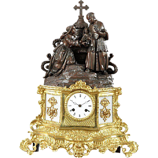 French Patinated Spelter Gilt Brass and Milk Glass Mantel Clock
