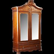 Louis XVI Style Carved Walnut Double Door Armoire, 1900 Century