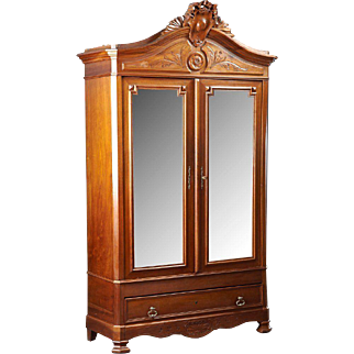 Louis XVI Style Carved Walnut Double Door Armoire, 1900 Century
