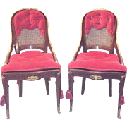 Gorgeous Pair Of French Bronze Red Mounted Side Chairs, 19th Century