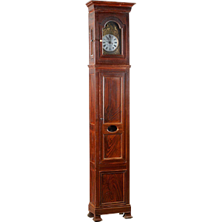 French Restoration Faux Bois Pine Tall Case Clock, 19th Century