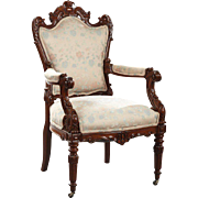 Very fancy Louis XVI Style Carved Walnut Fauteuil, 19th Century