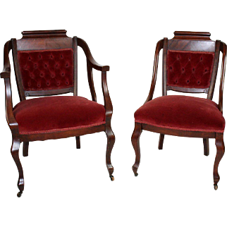 Set of 2 Beautiful American Victorian Mahogany Parlor Chairs, 19th Century