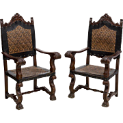 Set of 6 Embossed Spanish Dining Chairs, early 1900s