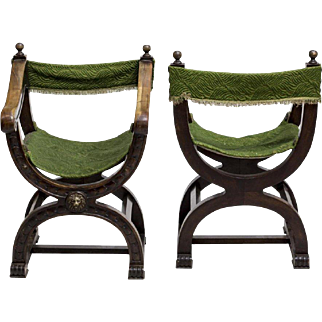4 Renaissance Revival Curule Armchairs, green Northern Spain 19th c  ( 1800s )
