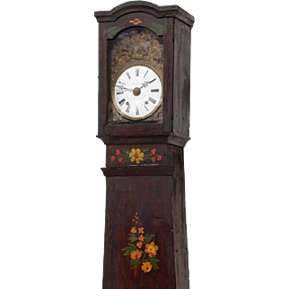 French Polychrom Painted Tall Case Clock, 19th c ( 1800s )