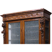 Italian Renaissance Revival Glazed Bookcase 19th c  ( 1800s )