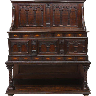 Spanish 18th/19th C. Inlaid Carved Sideboard
