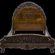 5 Piece Italian Baroque Style Mahogany Burl Bedrom Set, Antique