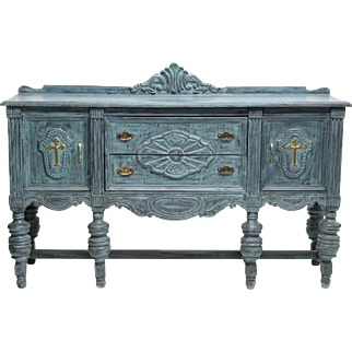French Colonial Style Carved and Painted Sideboard, Blue