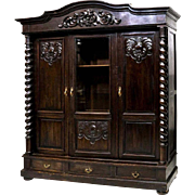 French Carved Walnut Glazed Bookcase 19th Century ( 1800s )