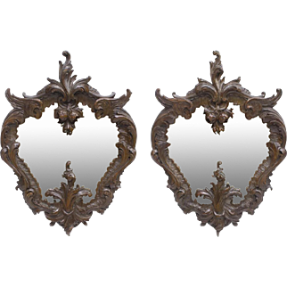 French Baroque Style Carved Wood Wall Mirrors, 19th Century ( 1800s )