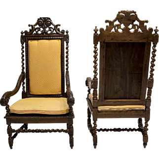 2 Louis XIV Carved Oak Highback Open Armchairs, 19th Century ( 1800s )