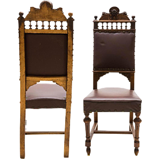 6 Italian Renaissance Revival Carved Side Chairs, 19th Century  ( 1800s )