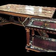 Extraordinary Three Piece Set Italian Empire Revival Marble Top Dining Set, circa 1960