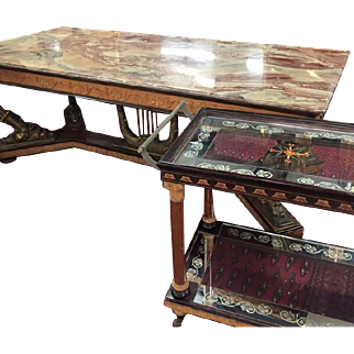 Extraordinary Three Piece Set Italian Empire Revival Marble Top Dining Set, circa 1960