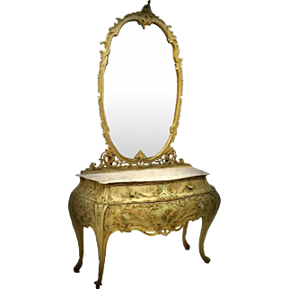 Italian Marble Top Mirrored Bombe Commode
