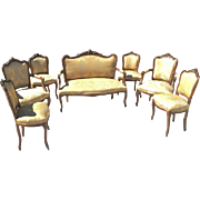 Seven Piece Italian Louis XV Style Carved Open Arm Sofa and Chairs 19th Century( 1800s )