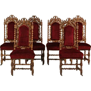 12 19th Century Carved Oak Dining Chairs (10 side, 2 end) and a Settee