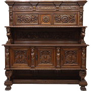 Italian Renaissance Style Heavily Carved Sideboard, Antique early 1900's