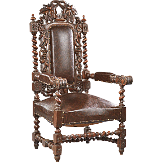 Impressie French Louis XIII Style Carved Oak Upholstered Armchair, 19th Century ( 1800s )