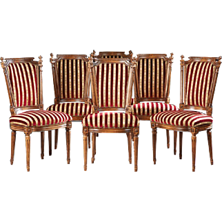 Classy Set of Six French Carved Beech Louis XVI Style Dining Chairs, early 1900s
