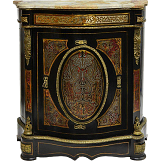Very Unique Napoleon III Boulle Style Marble Top Cabinet 19th century ( 1800s ) Antique
