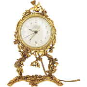 Vintage Gold Matson Bird and Dogwood Ormolu Working Electric Alarm Clock / Desk Clock