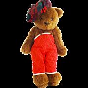 Vintage Collector's Artist Teddy Bear Stuffed Animal with Scottish Tam