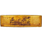 Antique French Napoleonic Papier Mache Pen Tray / Vide-Poche - Decoupage Equestrian Hunting Scene