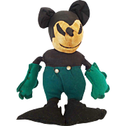 Rare 1930s Depression-Era Folk Art Mickey Mouse Doll with Green Shorts and Gloves