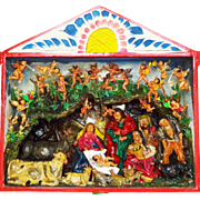 Vintage Large Peruvian Retablo of a Nativity Scene / Creche by Folk Artist Claudio Jimenes